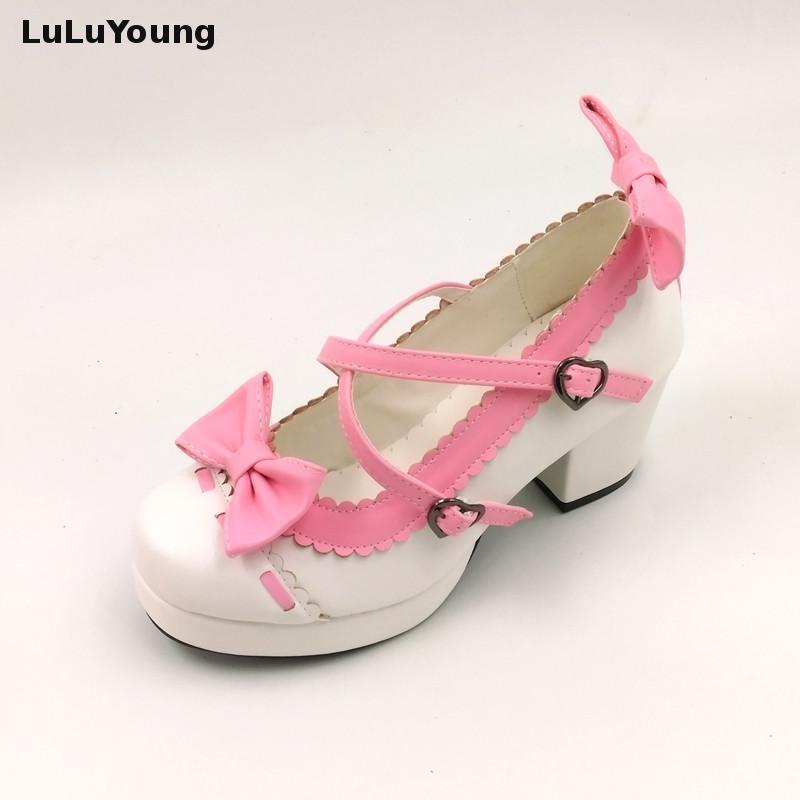 summer shoes 2017 new lolita shoes bow high heel platform cosplay shoes for women sy-2373<br>