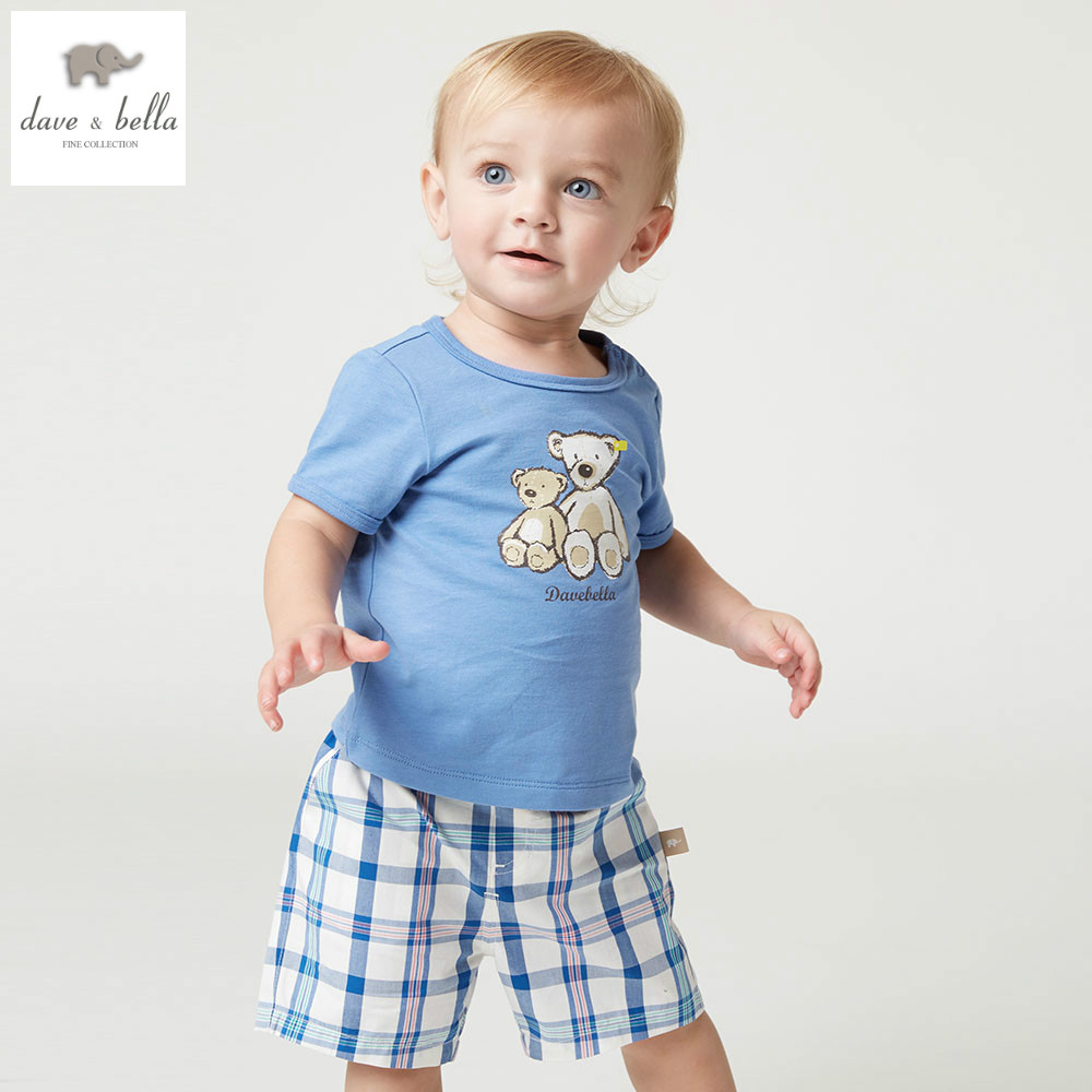 DB5062 dave bella summer baby boys sky blue bear print clothing sets child bear print set infant clothes kids sets baby costumes<br>