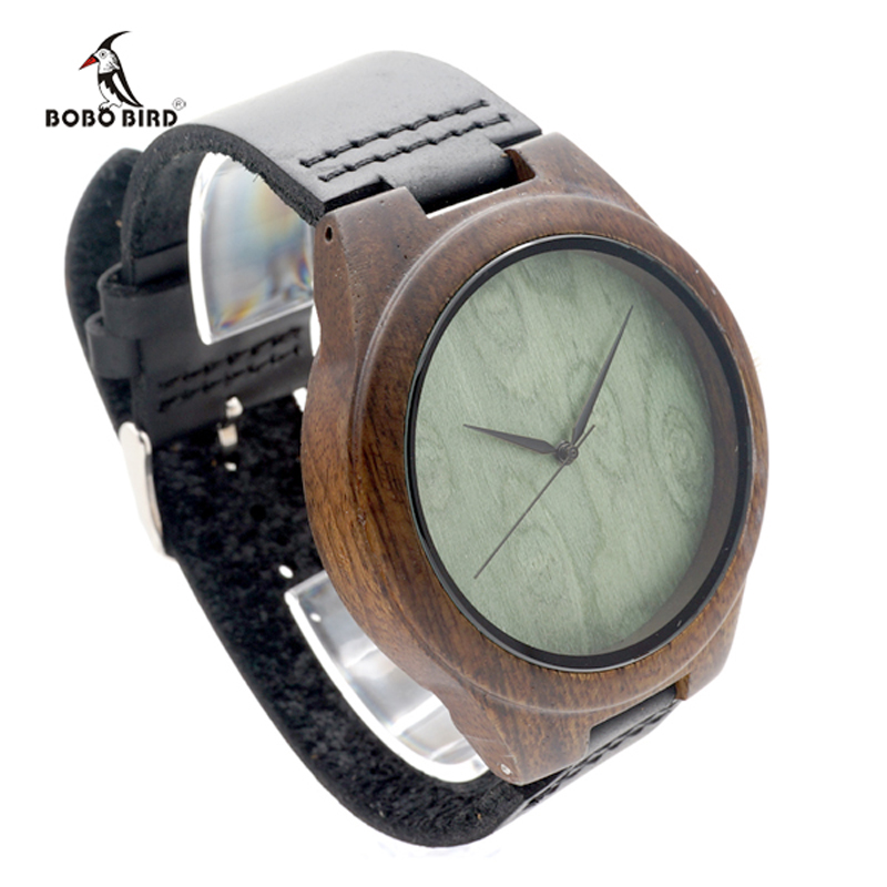 2017 Brand BOBO BIRD Black Wood Watch Men Leather Band Luxury Gift Watches relogio masculino C-F04<br><br>Aliexpress