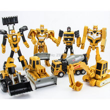 New 1 Pcs Engineering Transfer Robot Car Deformation Toy 2 in 1 Metal Alloy Construction Vehicle Truck Assembly Robot Kid Gift(China)