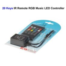 12V 20 Keys RGB Music LED Controller Sound Sensor With IR Remote Control For SMD 3528 5050 RGB LED Rigid Strip