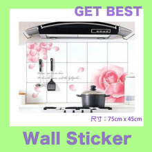 Freeshipping aluminum foil oil pollution smoke tile kitchen cabinet decoration stickers
