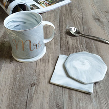 50pcs/lot Marble Grain Coaster Cup Mats Ceramic Pads Home Kitchen Tools Desktop Table Non-slip Luxury Decoration ZA4041(China)