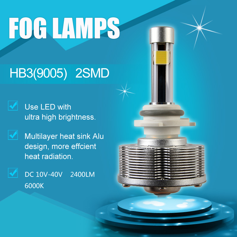 2pcs/lot HB3 9005 LED Fog Lights Automobiles Convision Kit Driving Bulbs 2SMD Ultra Bright 20W 6000K White<br><br>Aliexpress