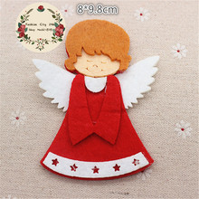 5pcs/lot Non-woven Fabric Handmade Kawaii Christmas Angel Patches Felt Accessories for DIY Scrapbooking,8*9.8cm(China)