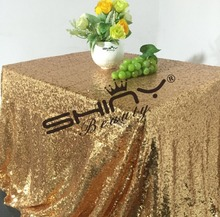 Shiny Gold 50''*72'' Sequin Tablecloth, Sparkly Gold Sequin Tablecloth Wholesale For Your Wedding Decoration(China)