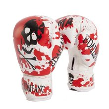 Red Skulls Womens/Mens Boxing Gloves for Muay Thai/MMA/Karate/Taekwondo Guantes 10 Ounce Luva De Boxe a0205DPBC(China)