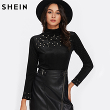 SHEIN Corduroy Pearls Beaded Top Woman Blouses 2017 Autumn Black High Neck Long Sleeve Elegant Blouses for Women(China)