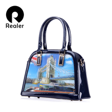 REALER brand 3D pattern new design handbag female PU patent leather shell bags casual tote bag ladies shoulder bag