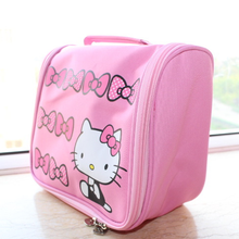 Clearance Sale Hello Kitty Cartoon Designer Sweet Beauty Pouch Bolso Mujer Travel Women Cosmetic Bags Makeup Storage 20*22*11cm(China)