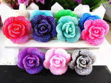 30pcs/lot kawaii resin flowers mix colors 30mm DIY resin cabochons accessories(China)