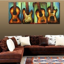 Handmade Painting Picture On Canvas Wall Art Music Picture Home Decor Guitar Painting For Music Room Decor Craft Still Life
