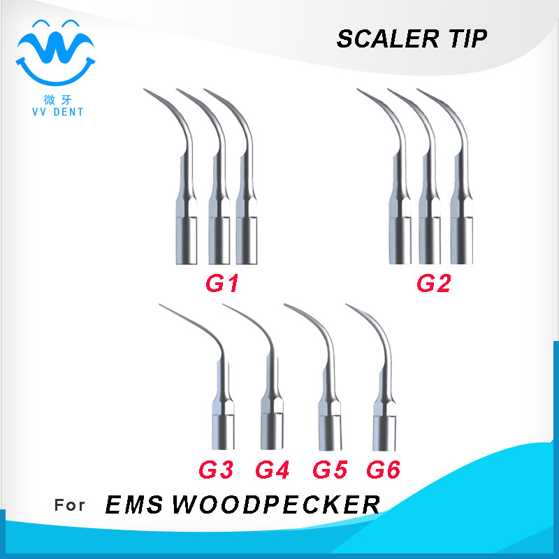 10pcs ultrasonic piezo scaler tip, dental tip for EMS/Woodpecker scaler handpiece for oral health care and teeth whitening<br>