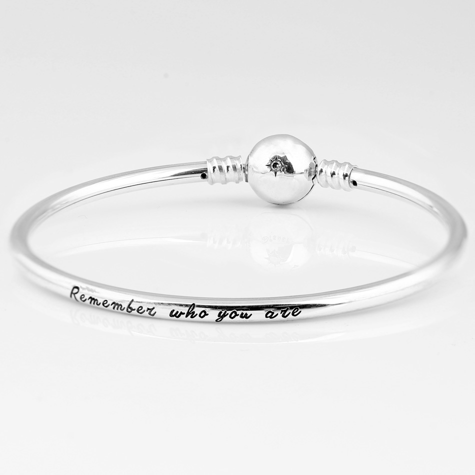 New 925 Sterling Silver Bangle A Young Cub Simba & A Star Stone Clasp Snake Bracelet Bangle Fit Bead Charm Diy Europe Jewelry