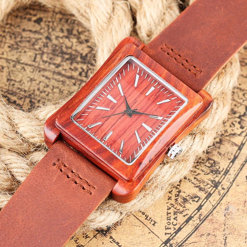 Creative Rectangle Dial Wood Watch Natural Handmade Light Bamboo Fashion Men Women Casual Quartz Wristwatch Genuine Leather Gift 8