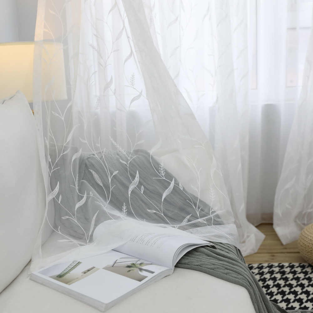 Modern Minimalist Pastoral Embroidered Tulle Curtain For Living Room Bedroom Some Transparent White Tulle Cortinas Salon wp061&4