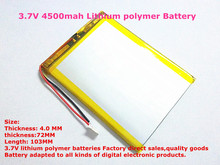 best battery brand 1PCS free shipping 4072103 3.7V 4500mah Lithium polymer Battery with Protection Board For PDA Tablet PCs Digi