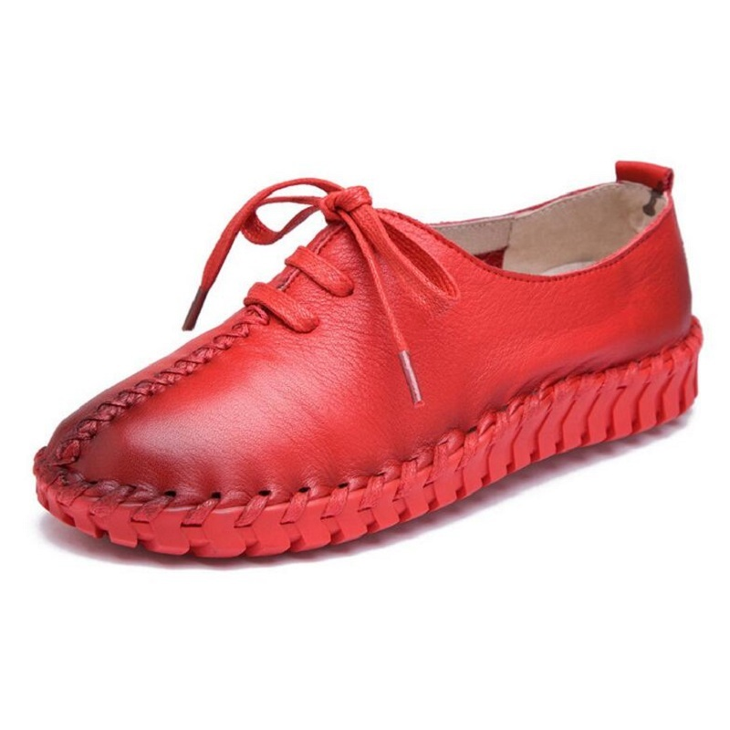 Womens Flat Shoes Woman Loafers Women Handmade Comfortable Shoes Genuine Leather Soft Outsole Shoes Women Flats 35-40<br>