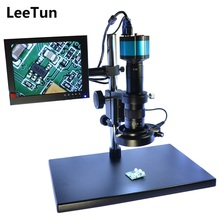 Industry Illuminated Digital Microscope Camera 2.0MP VGA HDMI LCD Monitor Stand Holder Zoom 180X C-Mount Lens LED Ring Lighting(China)