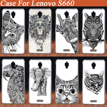 Transparent sides DIY Animal Head Pattern protective case DIY mobile phone case hard Back cover Skin Shell for Lenovo S660