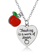 Buy Thanksgiving Teachers Gift Apple Love Heart Charm Pendant Necklace Teaching Work Heart Chain Necklaces Teacher Presents for $1.30 in AliExpress store