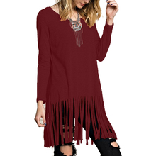 Buy Solid Color Tassel Dresses Women Spring Long Sleeve O Neck Loose Fashion Dress Vestidos Womens Clothing for $8.27 in AliExpress store