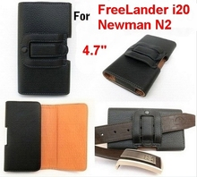 FreeLander i20 Newman N2 luxury leather case Belt Clip Horizontal Pouch Cover Black