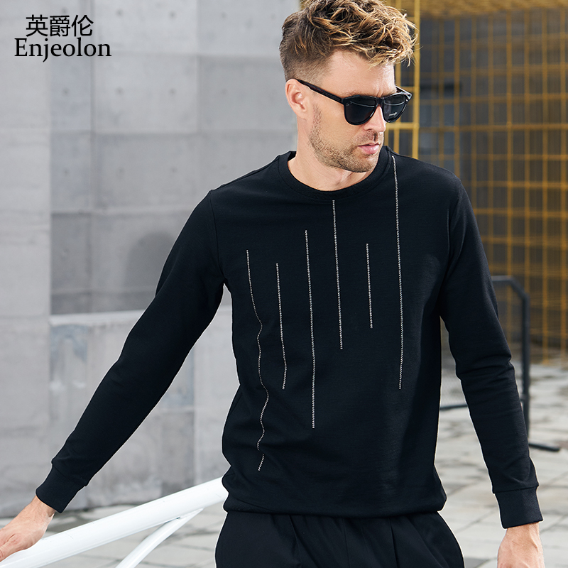 Enjeolon brand Long Sleeve Sweatshirt Men o neck Black hoodies Sweatshirt for men striped pattern sports clothes WY539