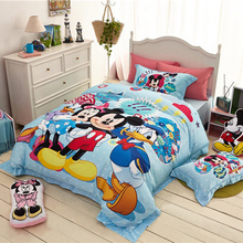 DISNEY Minnie Mouse Mickey Cartoon Bedding Sets 100% Cotton Blue Duvet Cover Sheet Set Single Queen Size Kids Beddings