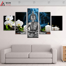 5 piece canvas art posters and prints nordic wall prints modular pictures buddha painting wall art paintings picture buddha canv(China)