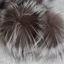 Big Genuine Real Silver Fox Fur Pompom Fur Pom Poms Hair Accessories Fur Pompon Ball For Shoes Hats Bags