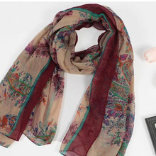 Fashion brand bohemian floral embrodiery Jacquard scarf long wide women scarves Beautiful scarf long 80*170cm