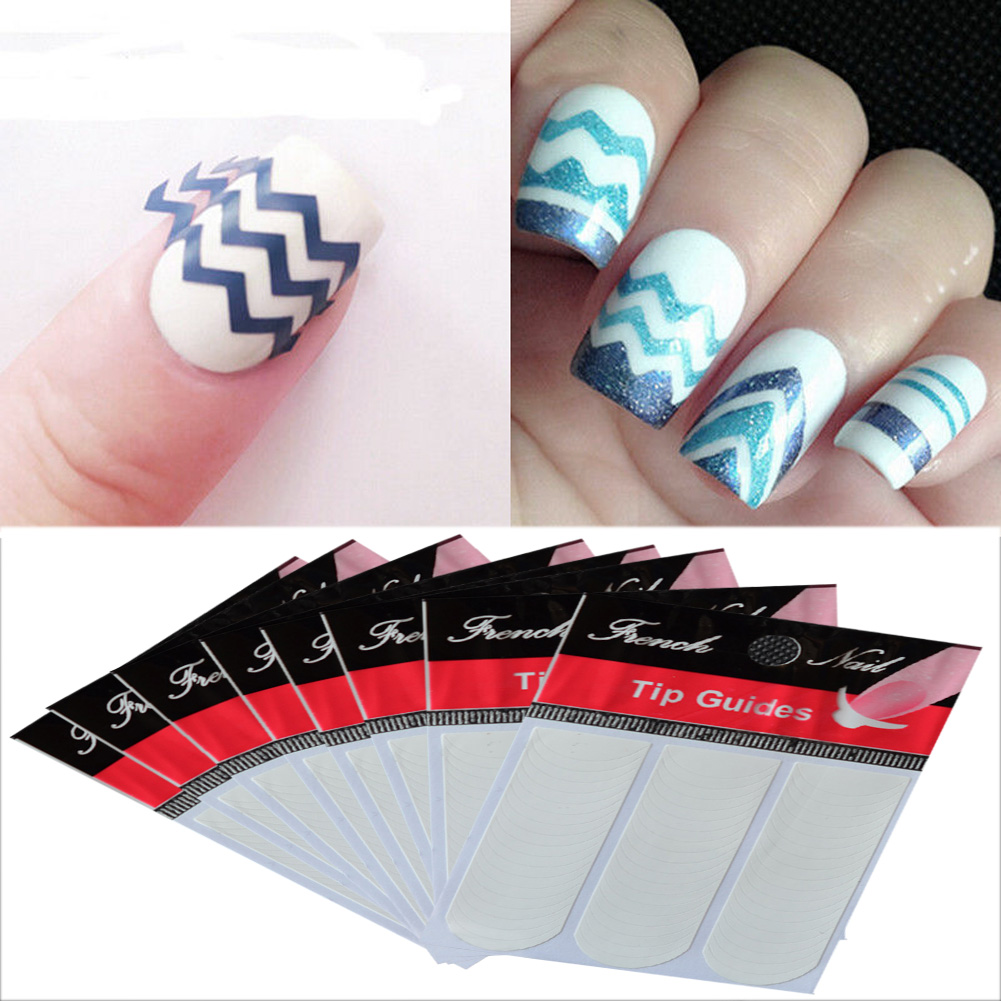 30 Sheets/set French Style Fingernail Nails Art Beautify Sticker Smile Line Nail Sticker Polish Design Guide Stickers Hot Sale(China (Mainland))