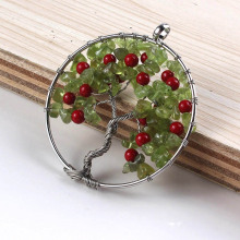 Kraft-beads Cherry Fruit Red Round Beads Pendant Natural Olivine Stone Tree of Life Necklack With Black Rope Chain Jewelry