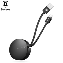 Baseus Retractable USB Cable For iPhone 5 6s 7 Fast Charging Cable For iPhone iPad Mobile Phone Portable USB Charger Data Cable(China)