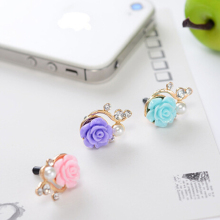 4Pcs/set Earphone Metal Anti Dust Plug 3.5mm Ultra Xian Resin Flower Bling Diamond Phone Dustproof Cell Phone Accessories MN936