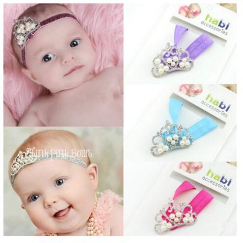HD055 Newborn Hair Accessories Head wear baby Artificial pearl crown headbands Infant Children gift Baby girl's Knot hair band(China (Mainland))