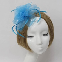 New Party Women Lady Fascinator Feather Hair Accessory Clip Crystal Flower Veil(China)