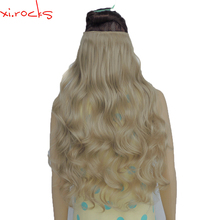 2 Piece Xi.Rocks 5 Clip in Hair Extension 70cm Synthetic Hair Clips Extensions 120g Curly Hairpin Hairpiece Light Ash Blonde