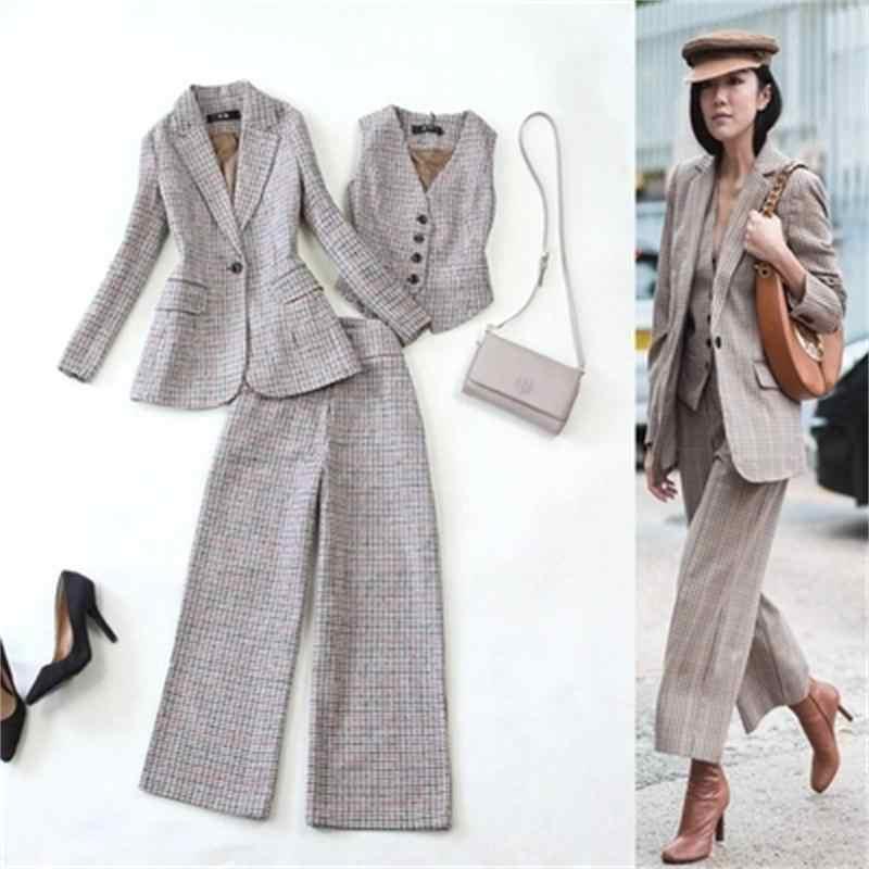 Fashion plaid Pant Suits Women s Autumn winter New plaid woolen suit jacket  vest + wide leg fd693aea6f35
