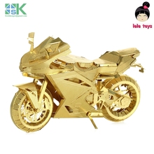 2016 New SKICONX Metal Earth Same style MOTORCYCLE II golden 3D Metal model Etching puzzle Assembling originality Challenge DI