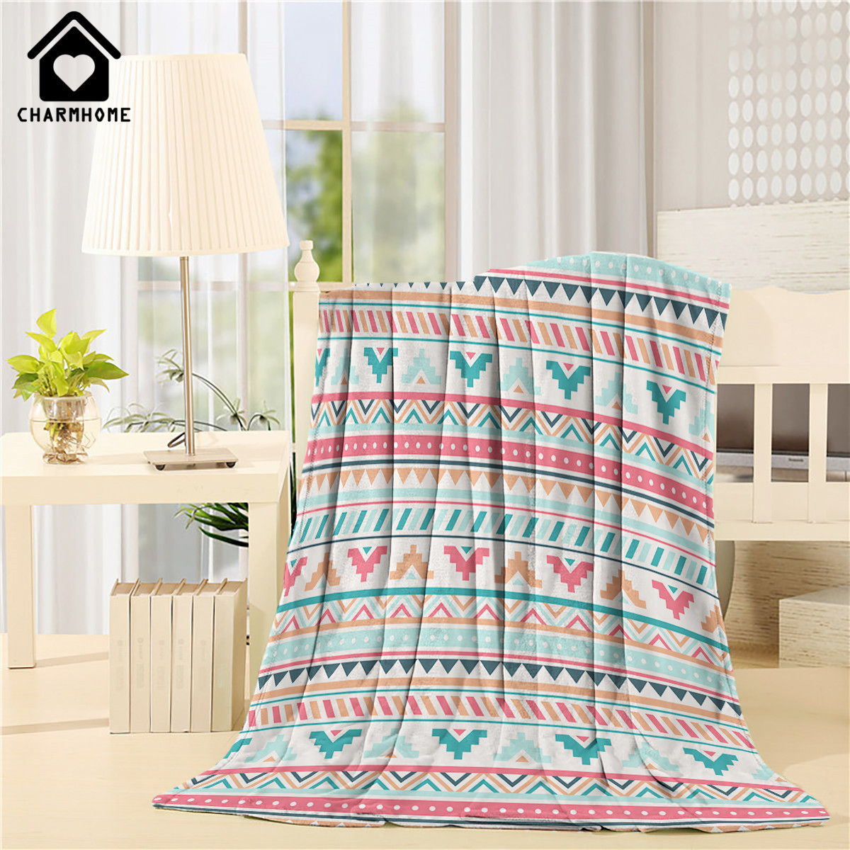CHARMHOME Bohemia Style Blanket Flannel Fleece Fabric Blanket National Wind Floral Sofa Bed Kid Adult Warm Throw Blanket