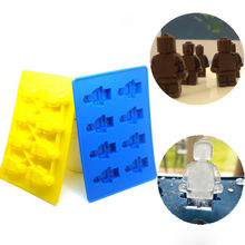 Trendy Yellow Blue Figure Design Silicone Ice Cube Tray Mold Cookies Chocolate Soap Baking Kitchen Tool