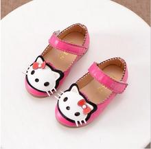 2017 Spring Children Girls Hello Kitty Shoes Girls Princess Sneakers Kids Casual Shoes For Girls Single Shoes Female