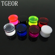 free shipping NICE piercing body jewelry 1 Pair mixed gauges clear Transparent ear expander saddle acrylic ear plug GOOD(China)