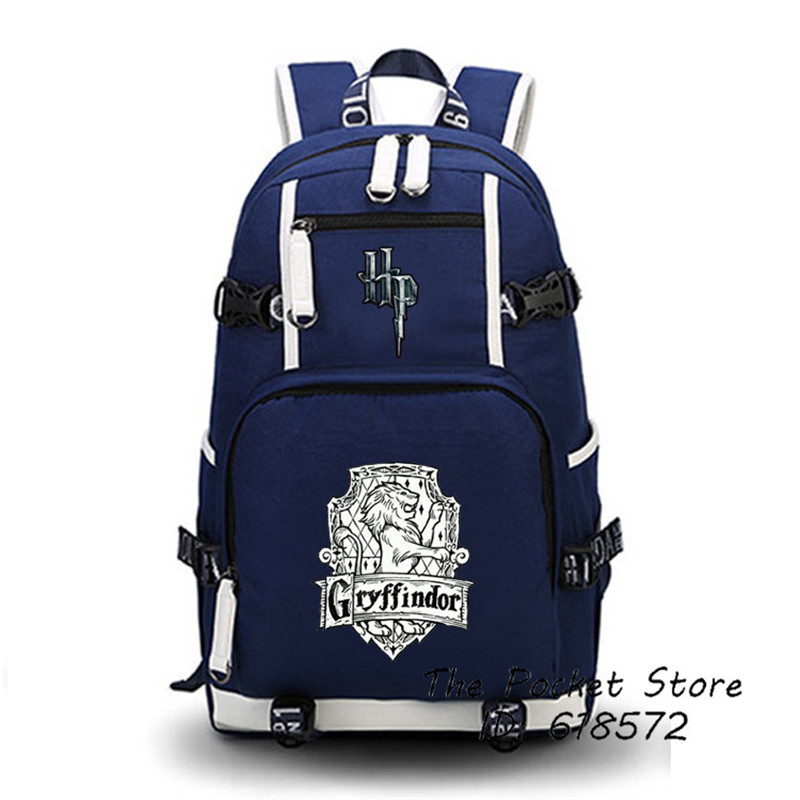 High Quality Harry Potter Gryffindor/Hufflepuff/Ravenclaw/Slytherin Hogwarts School Women Printing Backpack Canvas School Bags <br>