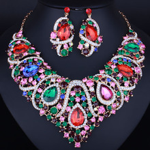 latest african beads Resin Crystal Necklace and Earrings six colors Bridal Jewelry Sets free shipping(China)