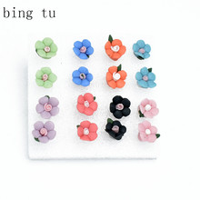 Bing Tu 8 Pairs Earring Set Lovely Ceramic Flowers Stud Earrings For Women Girls Sweet Jewellery Christmas orecchini ceramica(China)