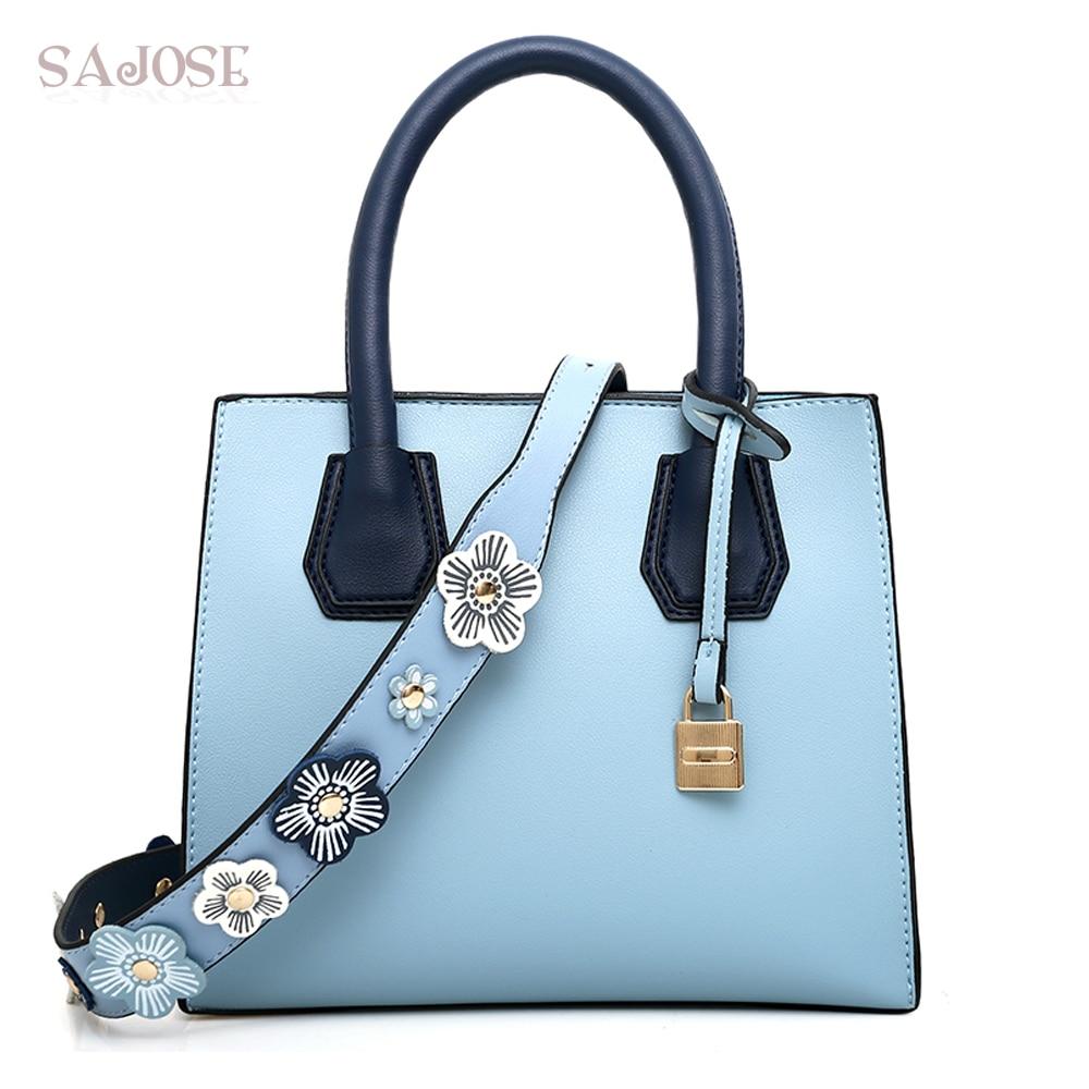 Womens Handbags High Quality Simple Girl Blue Fashion Womens Totes Bag Designer Lady Flowers Lock Shoulder Bags DropShipping<br>