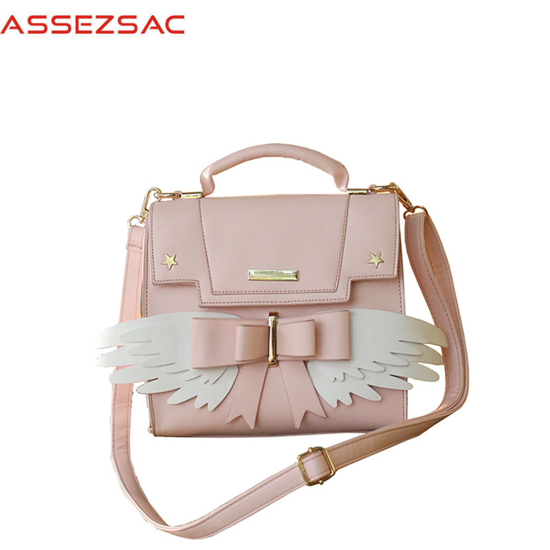 Assez sac Fashion women PU leather backpacks Casual lovely bows lady wing female bags Concise hot sale  girls like bag A3593/j<br>